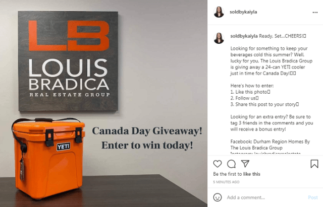 An Instagram e-commerce giveaway hosted to generate user engagement.
