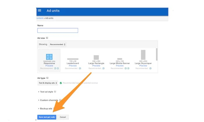 Google AdSense add new ad unit for How to Make Money Blogging