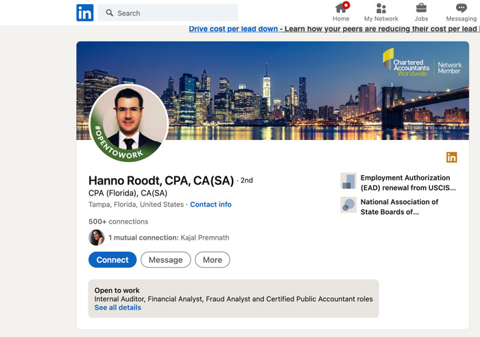 Marketing Tips for Accountants CPAs - Start Using LinkedIn (example of CPA profile)