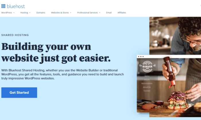 Bluehost shared homepage for Best Cheap Web Hosting