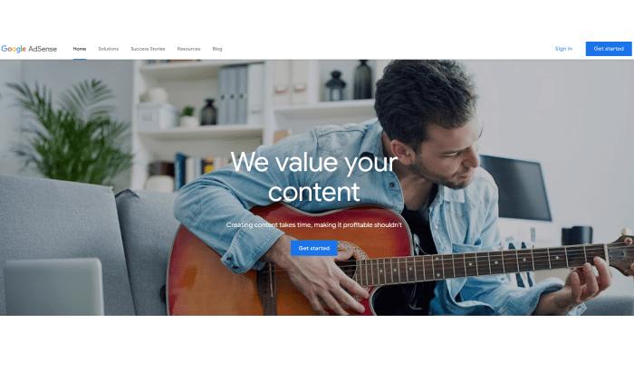 Google AdSense main splash page for How to Make Money Blogging