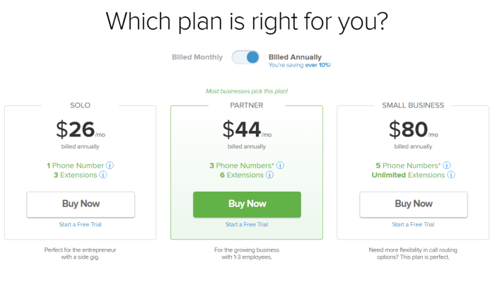Grasshopper pricing for Best Business Phone Systems