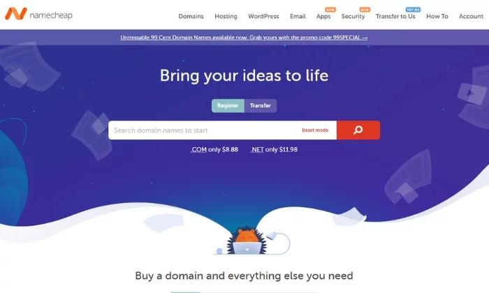 Namecheap main splash page for Best Domain Registrar