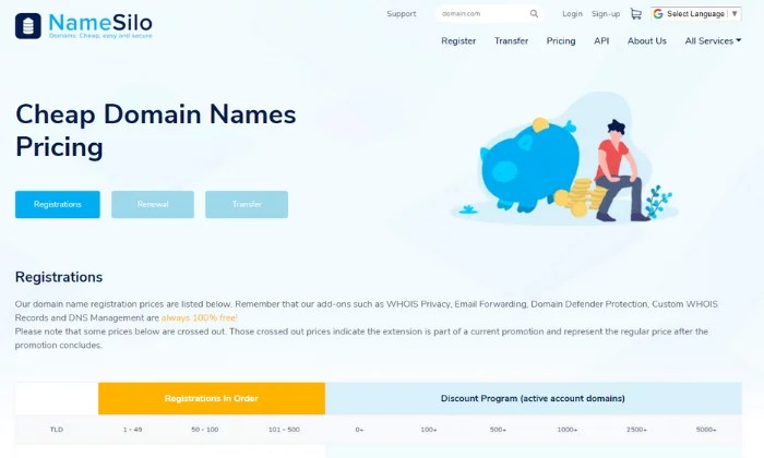 NameSilo main splash page for Best Domain Registrar