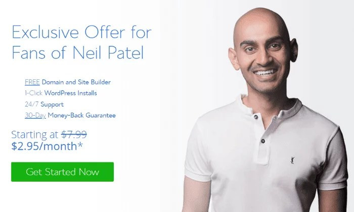 Exlcusive Neil Patel offer from Bluehost for How to Make Money Blogging