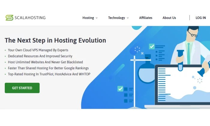Scala Hosting splash page for Best VPS Hosting