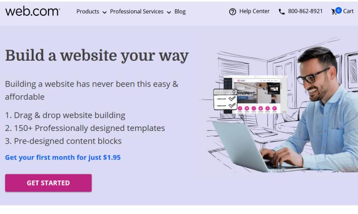 Web.com site splash for Best Website Builders