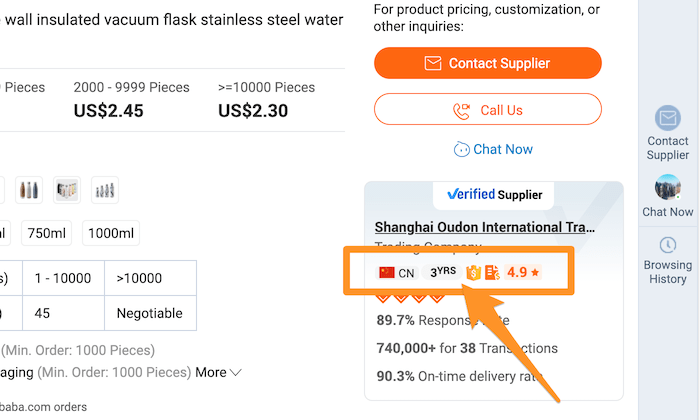 Alibaba gold supplier example for How to Start an Online Store