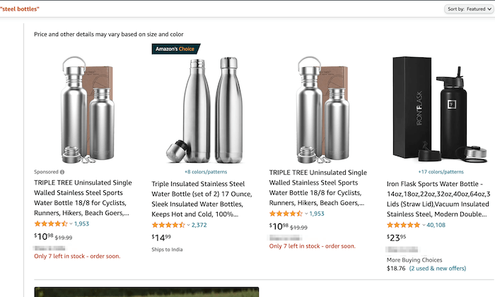 Amazon steel bottle products for How to Start an Online Store