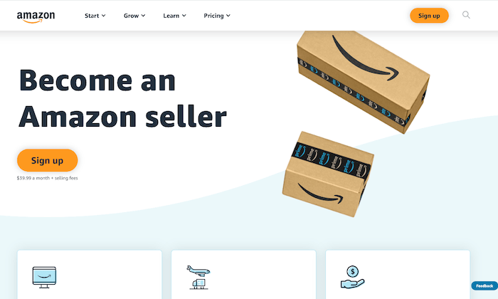 Amazon seller homepage for How to Start an Online Store