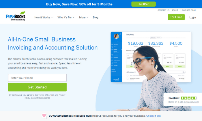 FreshBooks splash page for Best Accounting Software