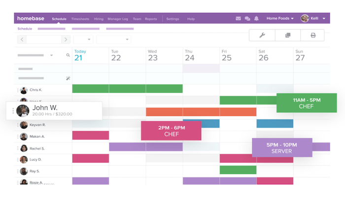 Homebase interface for Best Employee Scheduling Software