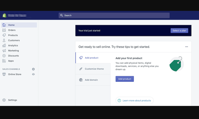 Shopify account dashboard for How to Start an Online Store