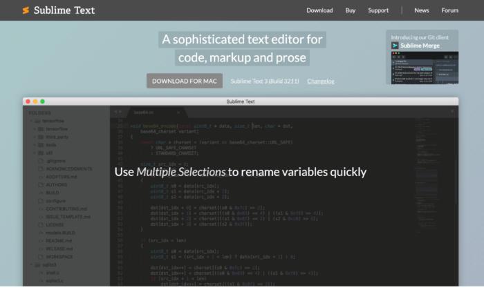 Sublime Text splash page for Best HTML Editors