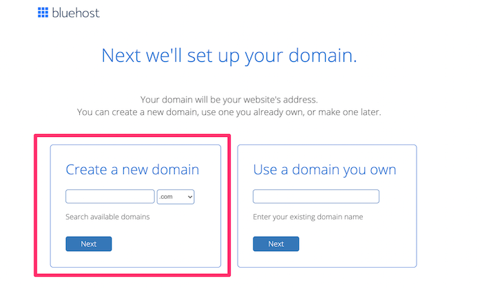 Bluehost create a new domain for How to Buy a Domain Name