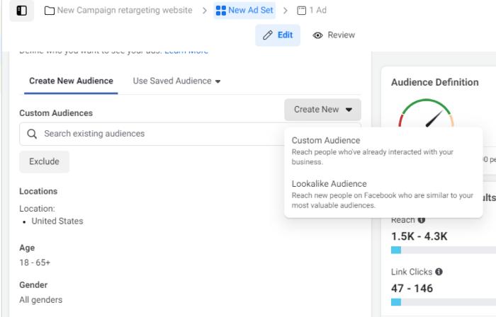 create a new custom audience facebook retargeting.