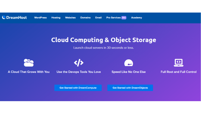 DreamHost main page for cloud for Best Cloud Web Hosting