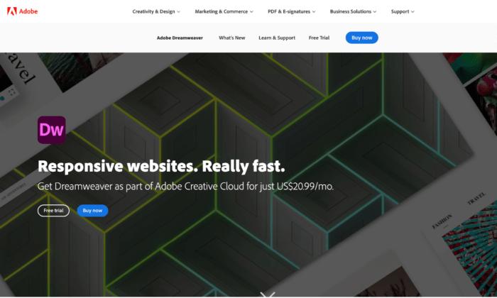 Adobe Dreamweaver splash page for Best HTML Editors