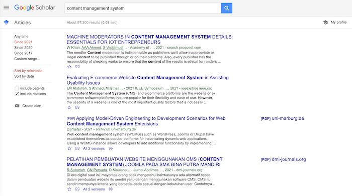 How to Use Google Scholar to Find Content Ideas - Related Articles (content management system example)