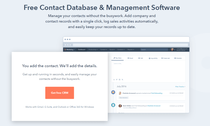 HubSpot free version page for Best Contact Management Software