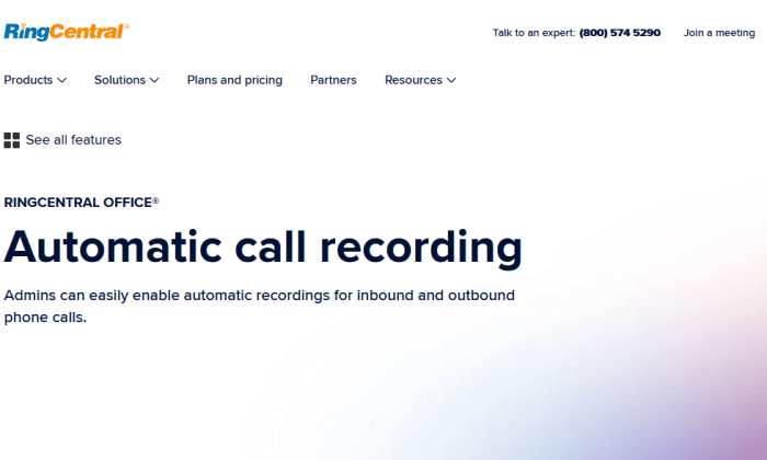 RingCentral call recording page for Best Call Recording Software