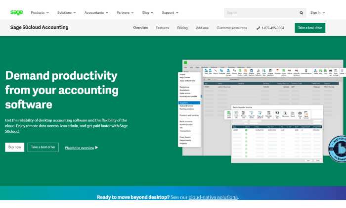 Sage 50Cloud splash page for Best Accounting Software