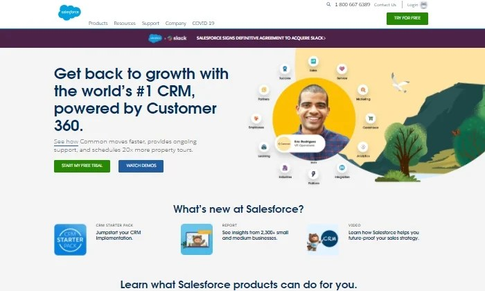 Salesforce CRM homepage for Best Contact Management Software