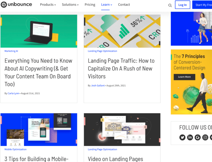 top marketing blogs - unbounce example of sleek design/with side bar
