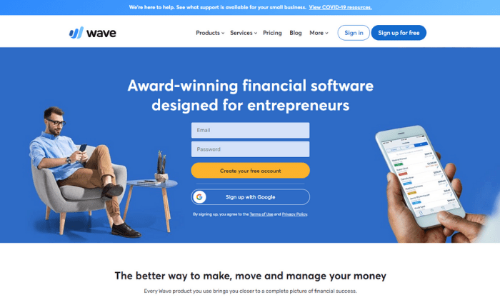 Wave splash page for Best Accounting Software
