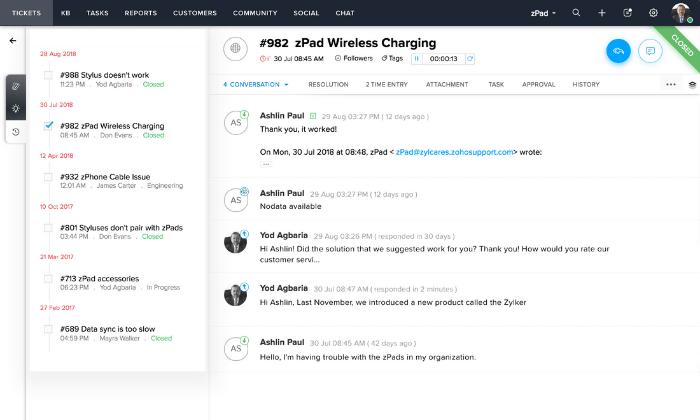 Zoho Desk interface for Best Help Desk Software