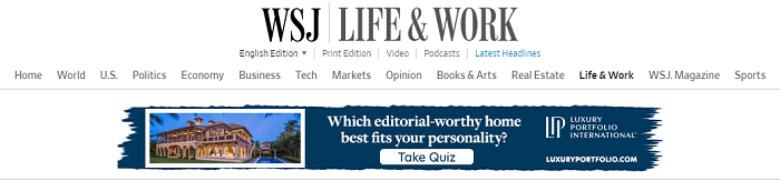 Lifestyle content ad on WSJ's Life and Work section.