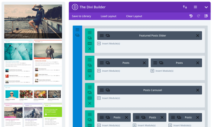 Extra theme Divi Builder interface for Best WordPress Themes for Blogs