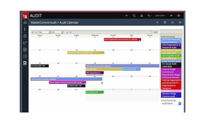MasterControl interface for Best Document Management Software