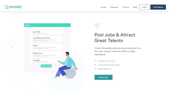 Recooty main page for Best Recruiting Software