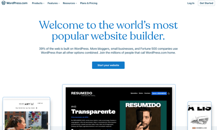 WordPress.com builder page for Best Free Web Hosting