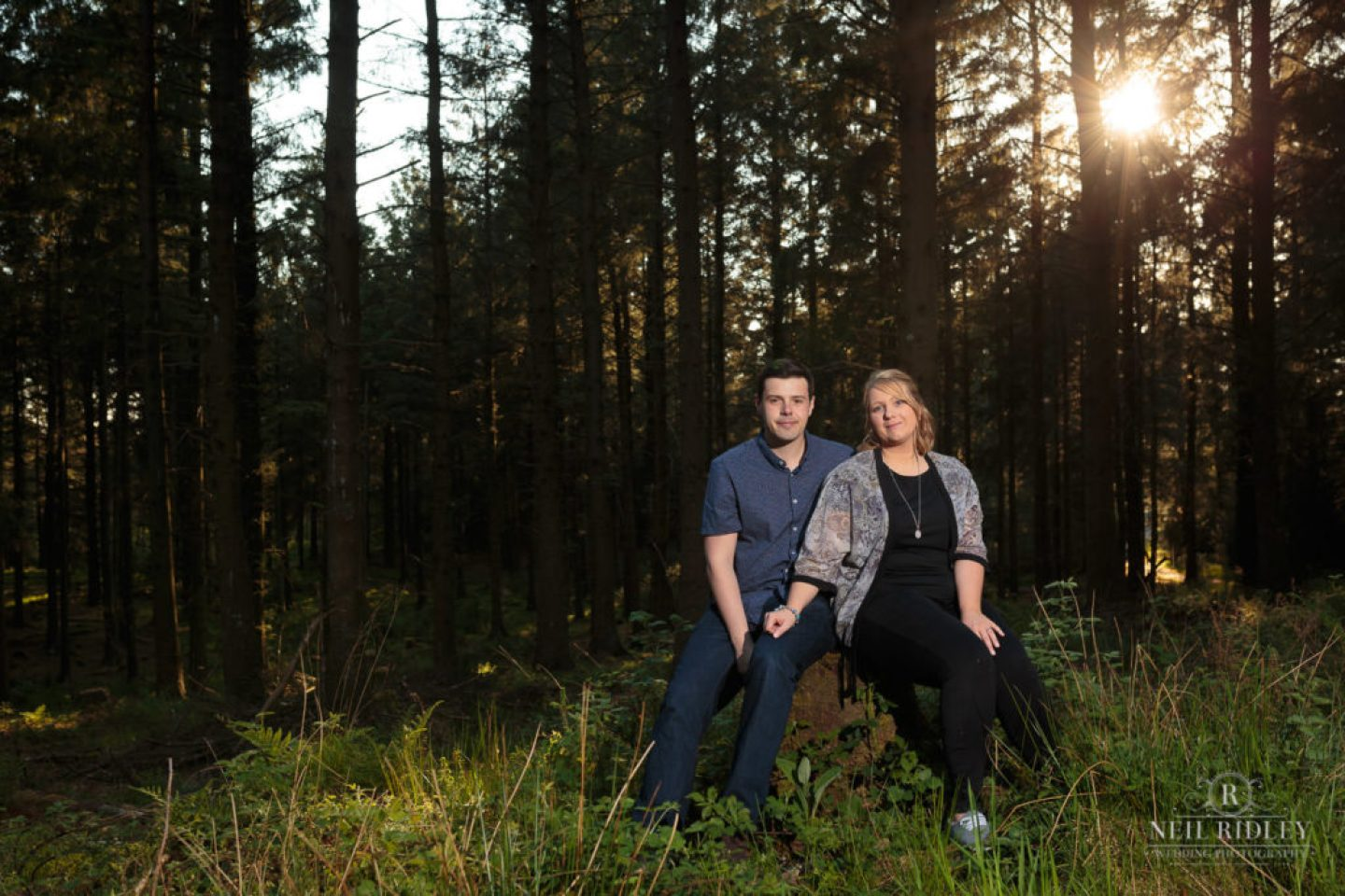 Lancashire Pre Wedding Shoot at Beacon Fell, Young couple sat on a tree stump in a forest