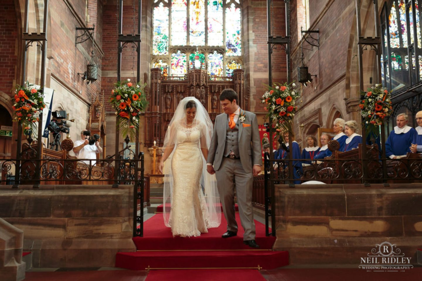 Bride and Groom leave the Church at St Thomas Church in St Annes-on-Sea