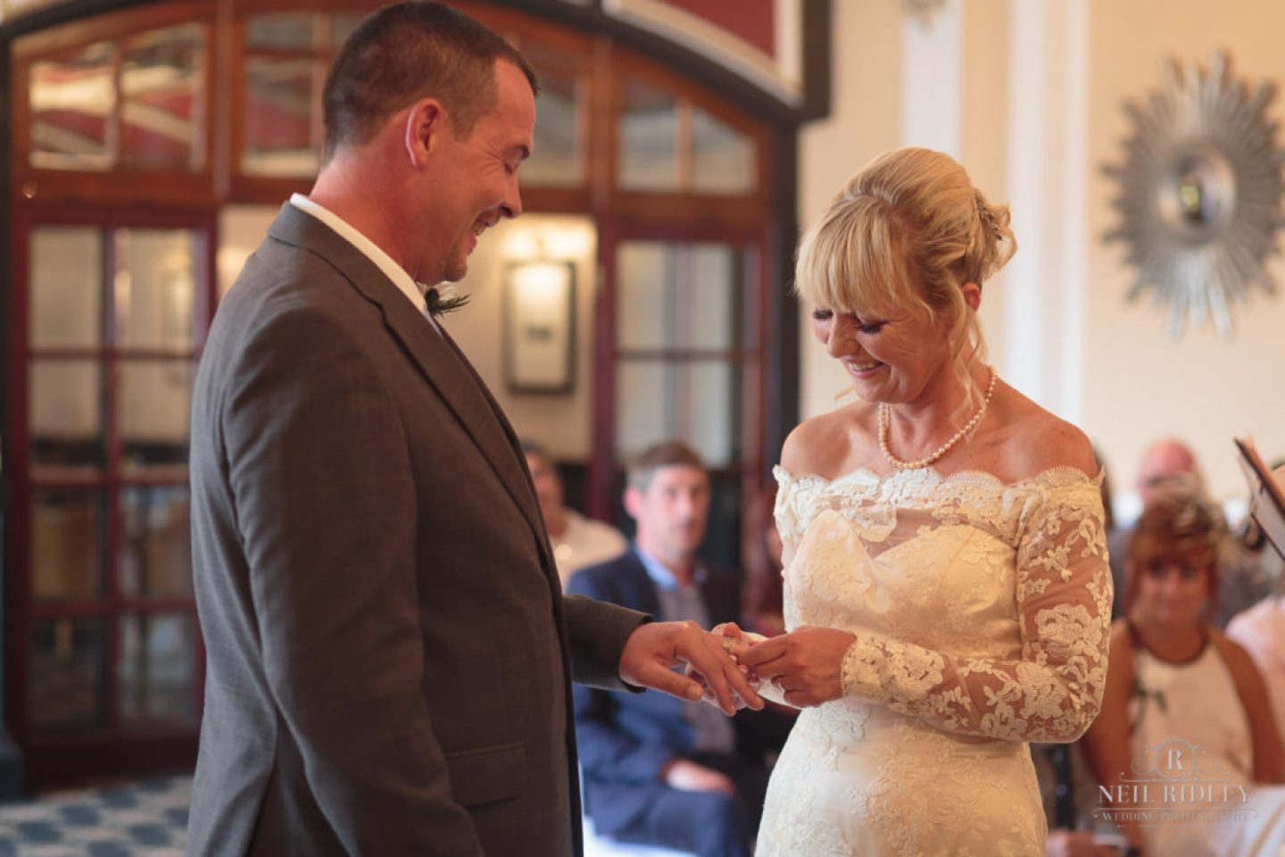 Bride and Groom exhange Wedding Rings at The Park House Hotel, Blackpool