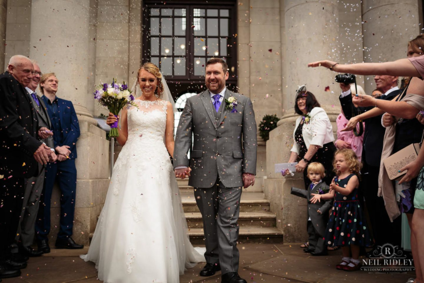 Lancaster Wedding Photographer - Bride and Groom leave Ashton Memorial , Lancaster to a shower of confetti