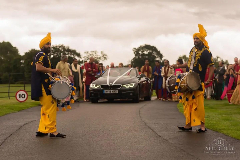 Merrydale Manor Wedding Photographer - Hindu drummers at the Baraat