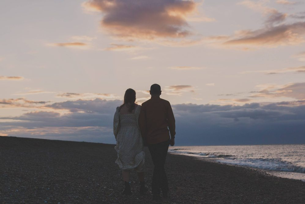 Evening engagement shoot cley next the sea