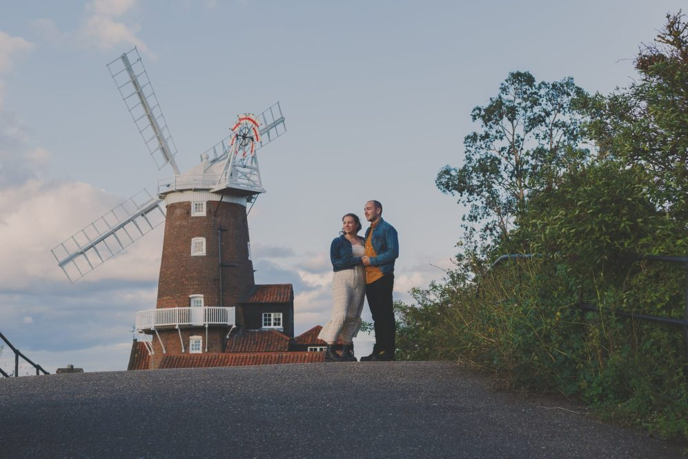Couples engagement shoot by Cley Windmill Norfolk by neil senior photography