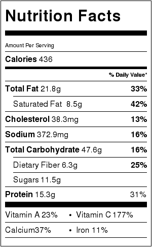 Lynne's Nachos with Spicy Salasa Nutrition Label