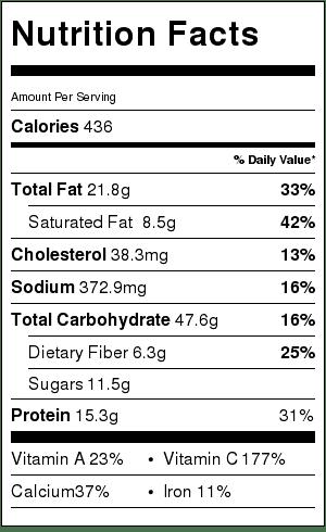 Lynne's Nachos with Spicy Salasa Nutrition Label