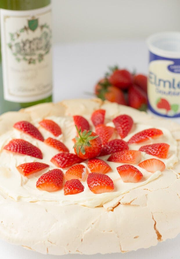 Easy strawberry pavlova is my healthier version of the classic pavlova recipe. It's really simple to make with only 4 ingredients, lower calorie and perfect for dinner parties.