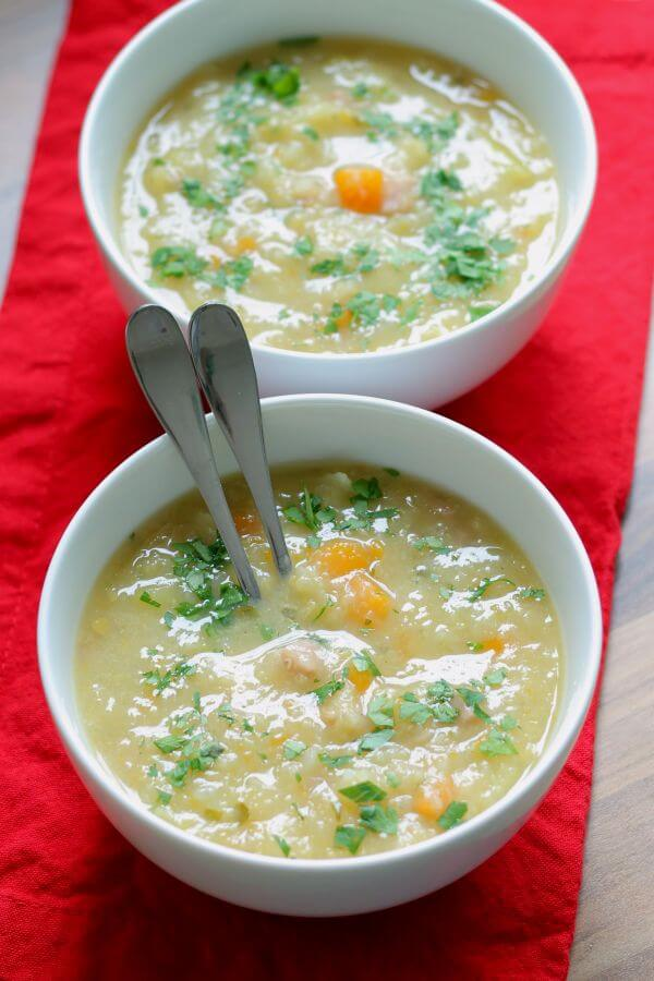 This tasty ham and vegetable soup is packed full of nutrition and because it's so filling it's a great help in avoiding the temptation to reach for those unhealthy in-between meal snacks!
