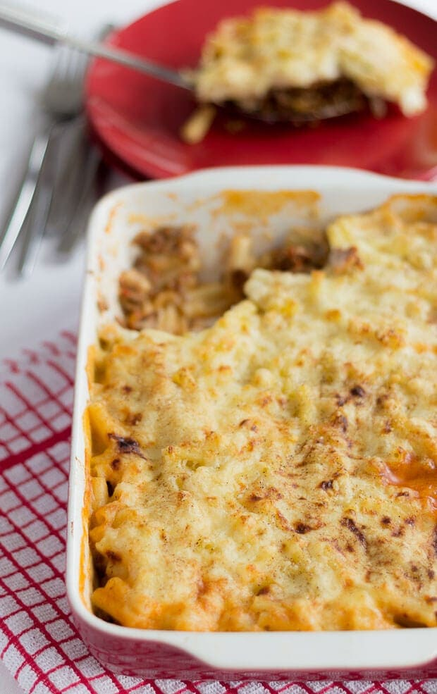 This healthier Greek Pastitsio is my reduced fat, reduced calorie, re-make of the full fat original. Made with a lower fat cheese sauce and packed with more protein instead of carbs, you'll still get the full flavour of the original dish, just not the full fattening affects on your waistline. A quick healthy meal ready in one hour.