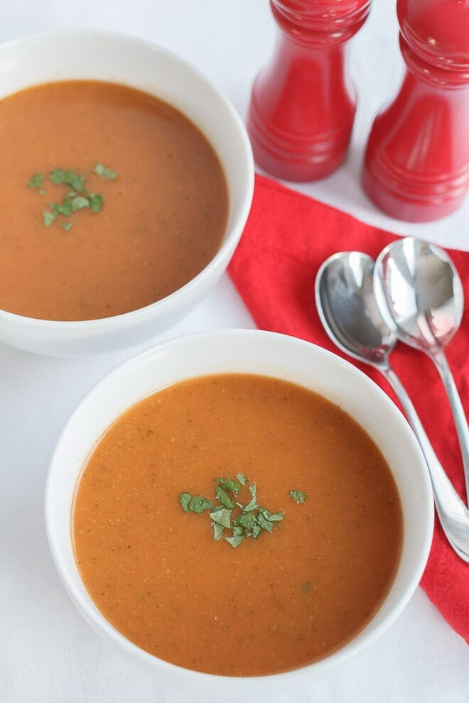This is a really simple, tomato and courgette soup. It's so easy to make and very tasty. It's nutritious, low cost and can be made in bulk to freeze too. I made this from leftovers! You'll so want to add this to your quick healthy meals list!