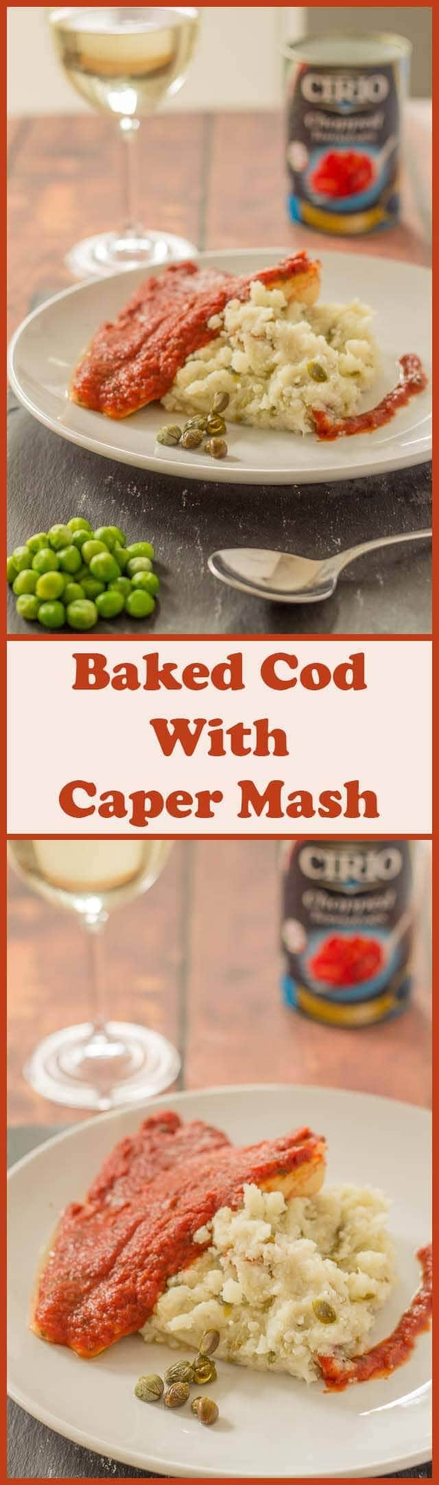 This baked cod with caper mash is a really tasty and easy quick healthy meal. A delicious tomato basil sauce covers the fish which is then baked in the oven and served with a healthy low carb caper mash.