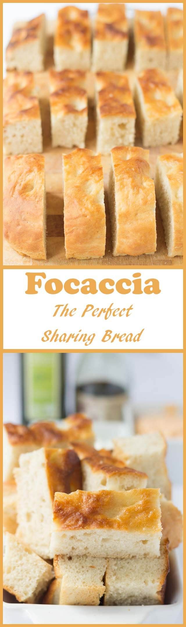 Focaccia is the perfect sharing bread. It's easy to make and this Focaccia recipe shows you just how easy. Perfect for sharing with friends accompanied with oils and dips it's a meal in itself!